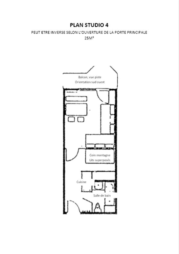 Plan Studio 4 Residence Tourotel Val Thorens Odalys